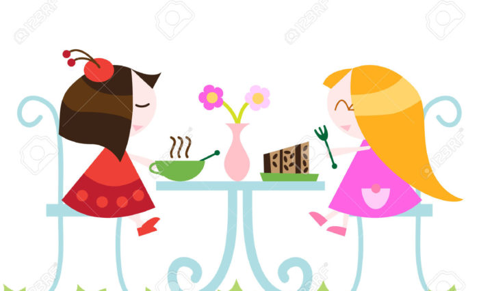 8967127-girls-eating-dinner--Stock-Vector-friendship-cartoon-food